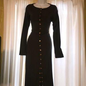 Olive green body con button dress midi large
